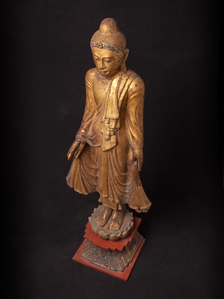 Antique standing Mandalay Buddha statue from Burma made from Wood
