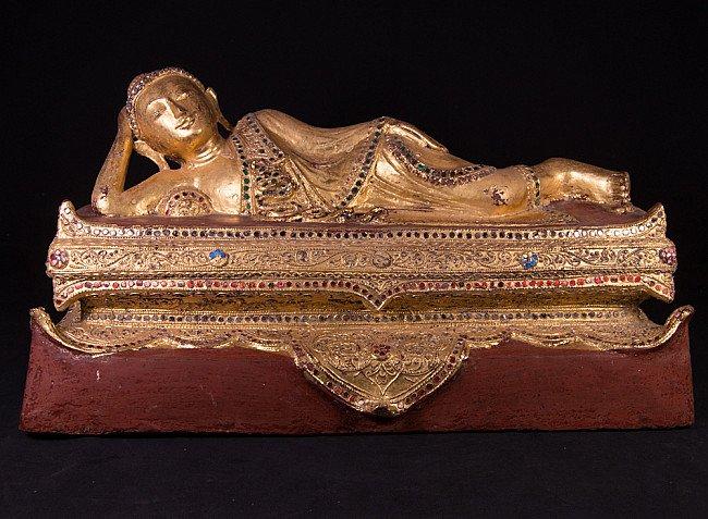 Alte Birmanische Lacquerware Buddha Figur