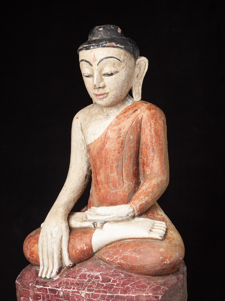 Old wooden Shan Buddha statue from Burma made from Wood