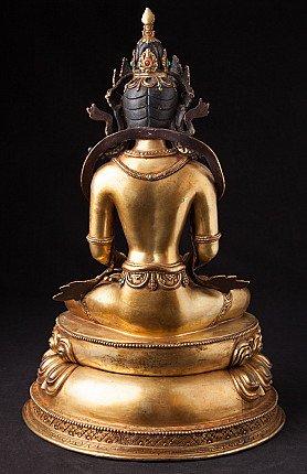 Old crowned Nepali Buddha statue
