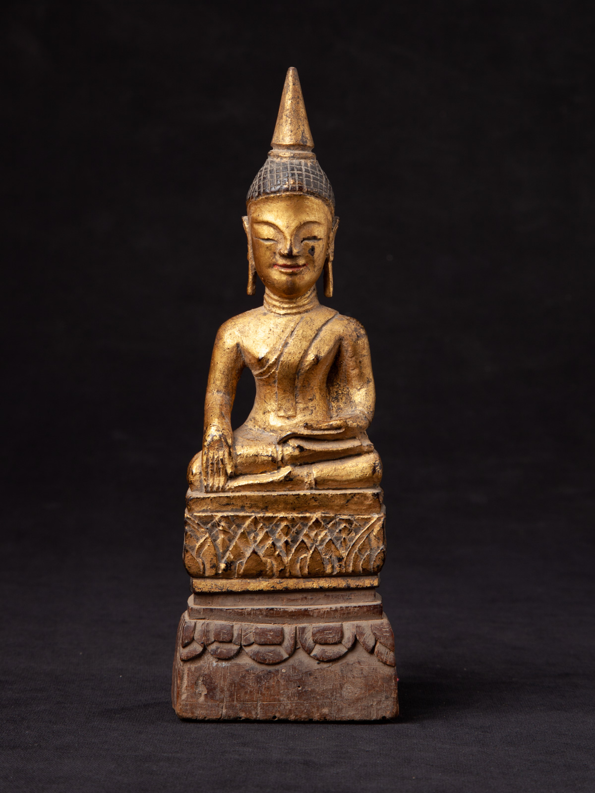 Antique wooden Thai Buddha statue from Thailand made from Wood