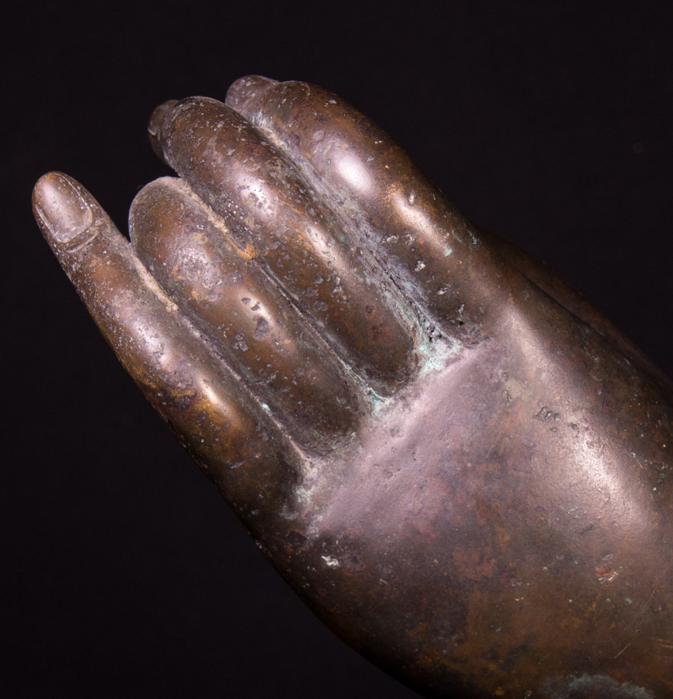 Old bronze Buddha hand from Thailand made from Bronze
