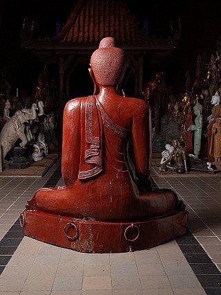 Large old teakwooden Buddha statue