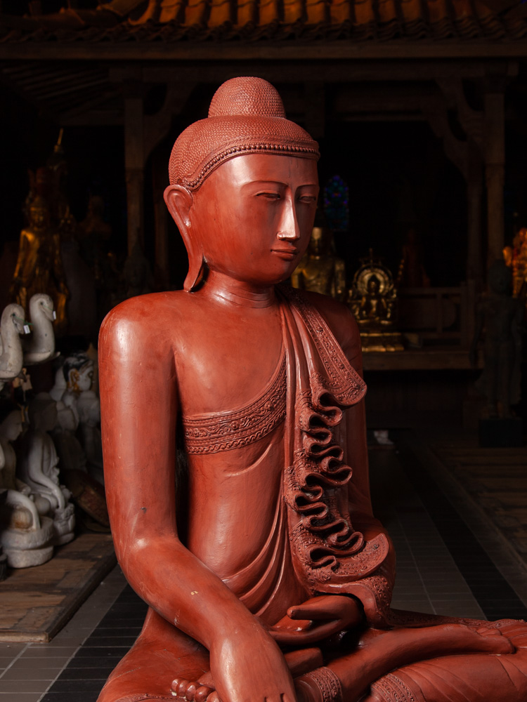 Large old teakwooden Buddha statue from Burma made from Wood