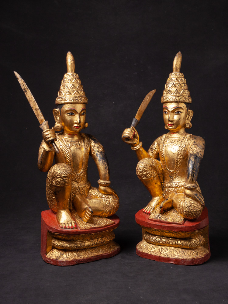 Pair of antique Burmese Nat statues from Burma