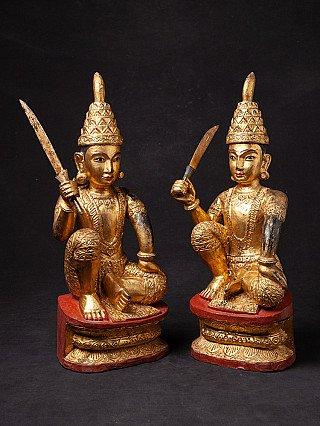 Pair of antique Burmese Nat statues