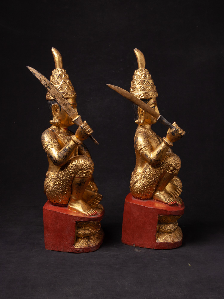 Pair of antique Burmese Nat statues from Burma made from Wood