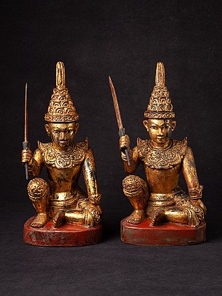 Antique pair of Burmese Nat statues