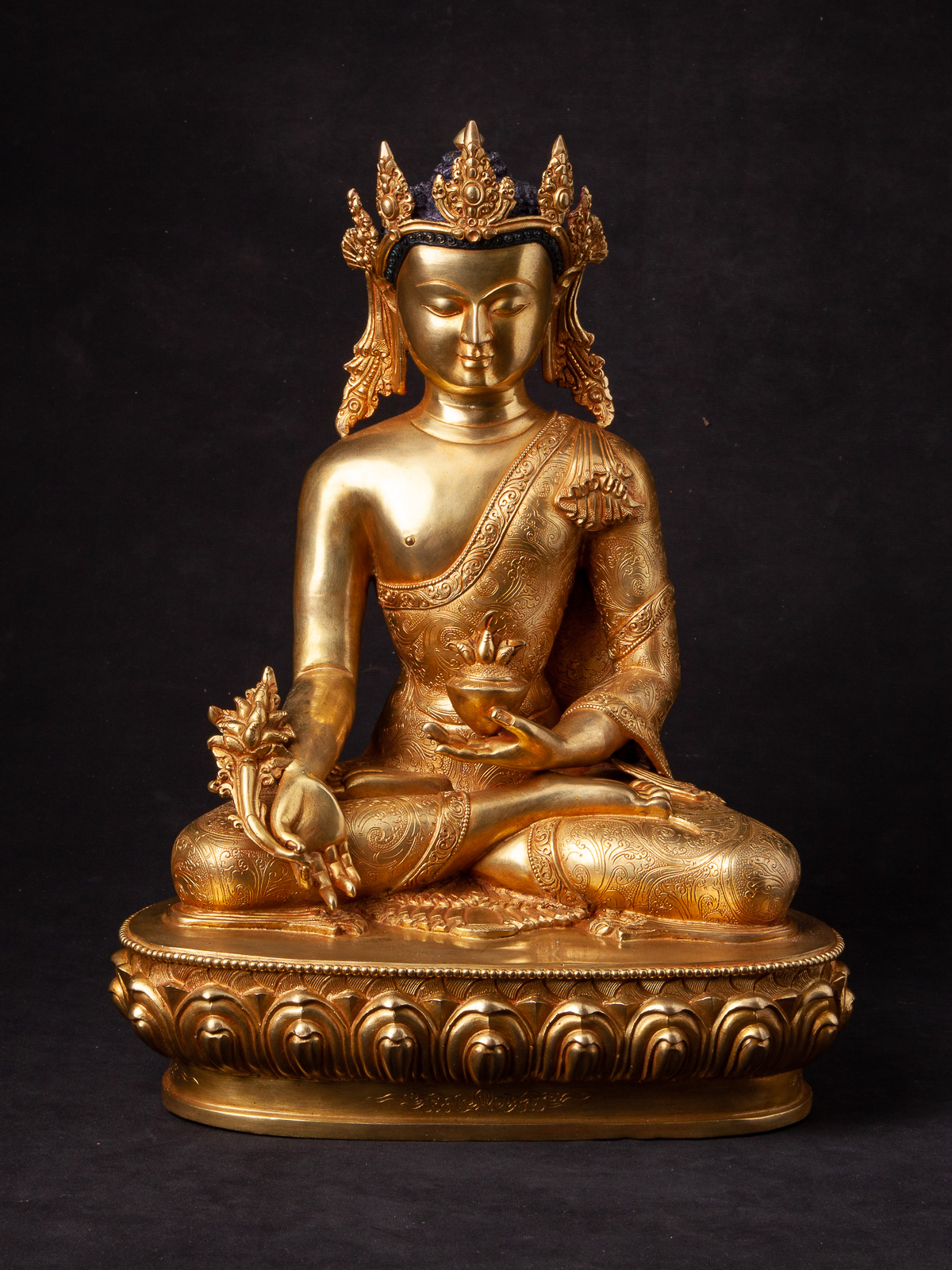 High quality bronze Medicine Buddha statue from Nepal