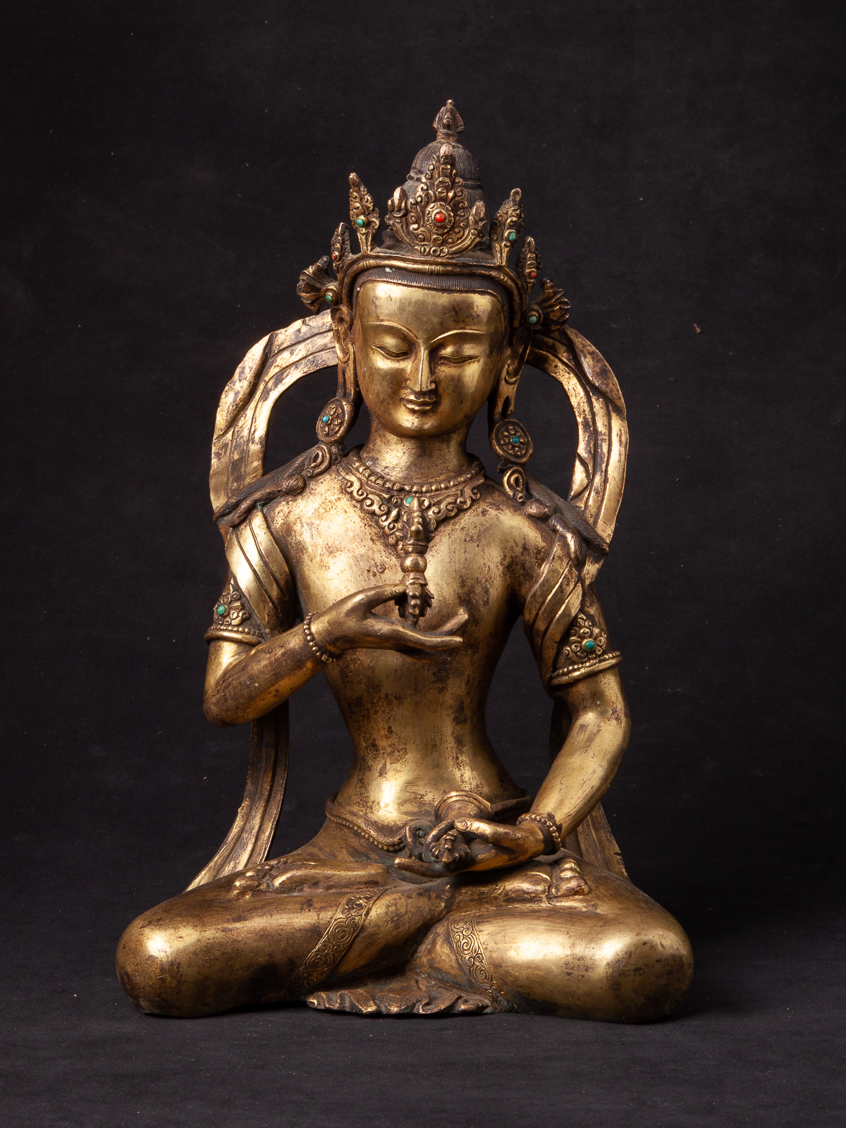 Antique Nepali bronze Lokeshor statue from Nepal made from Bronze