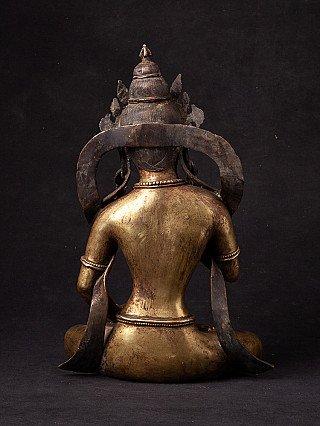 Antique Nepali bronze Lokeshor statue