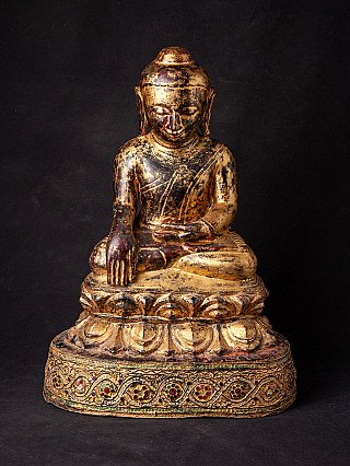 Antique wooden Ava Buddha statue