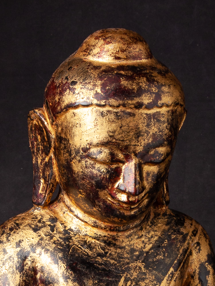 Antique wooden Ava Buddha statue from Burma made from Wood
