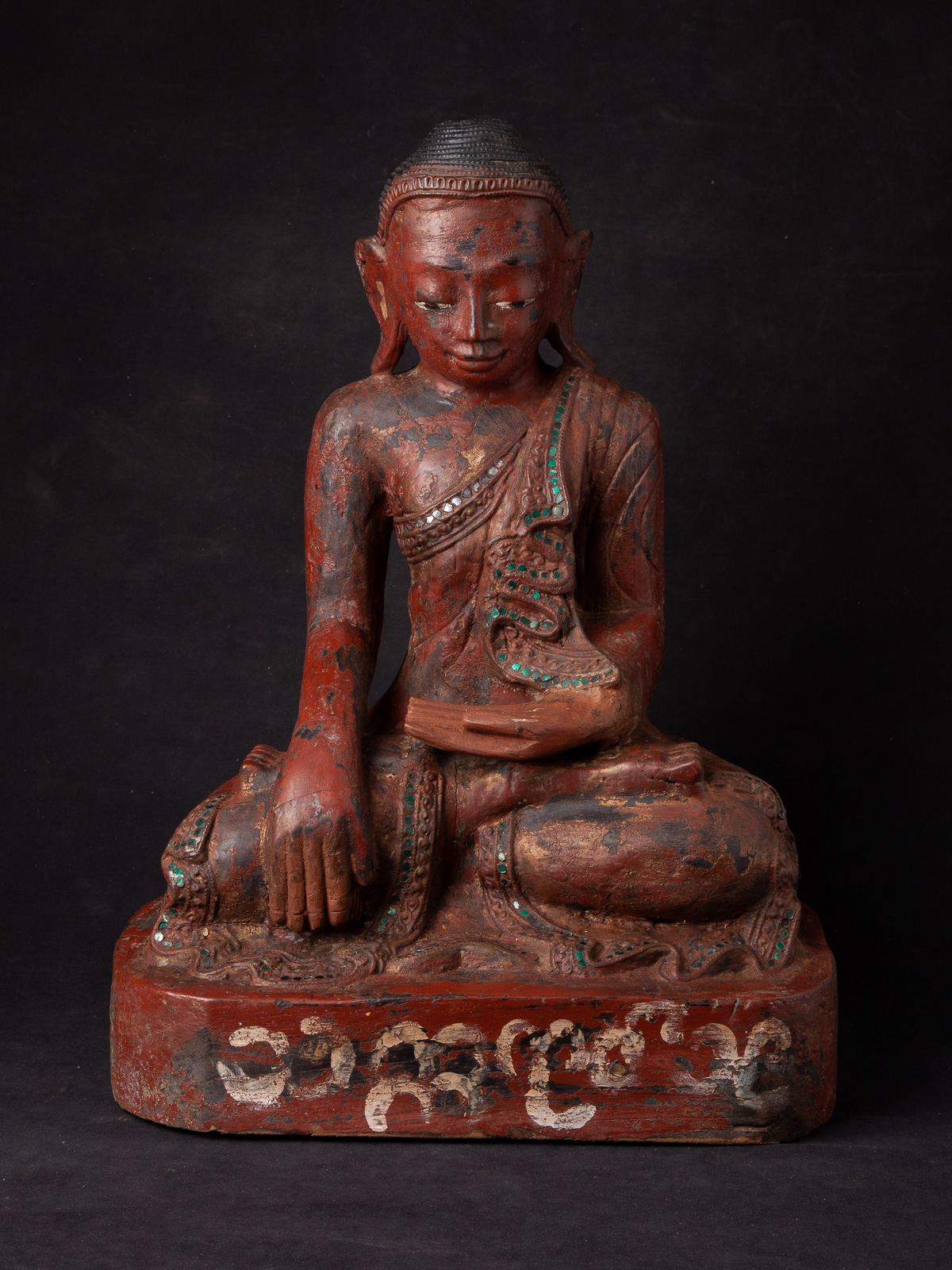 Antique Burmese Mandalay Buddha statue from Burma made from Wood