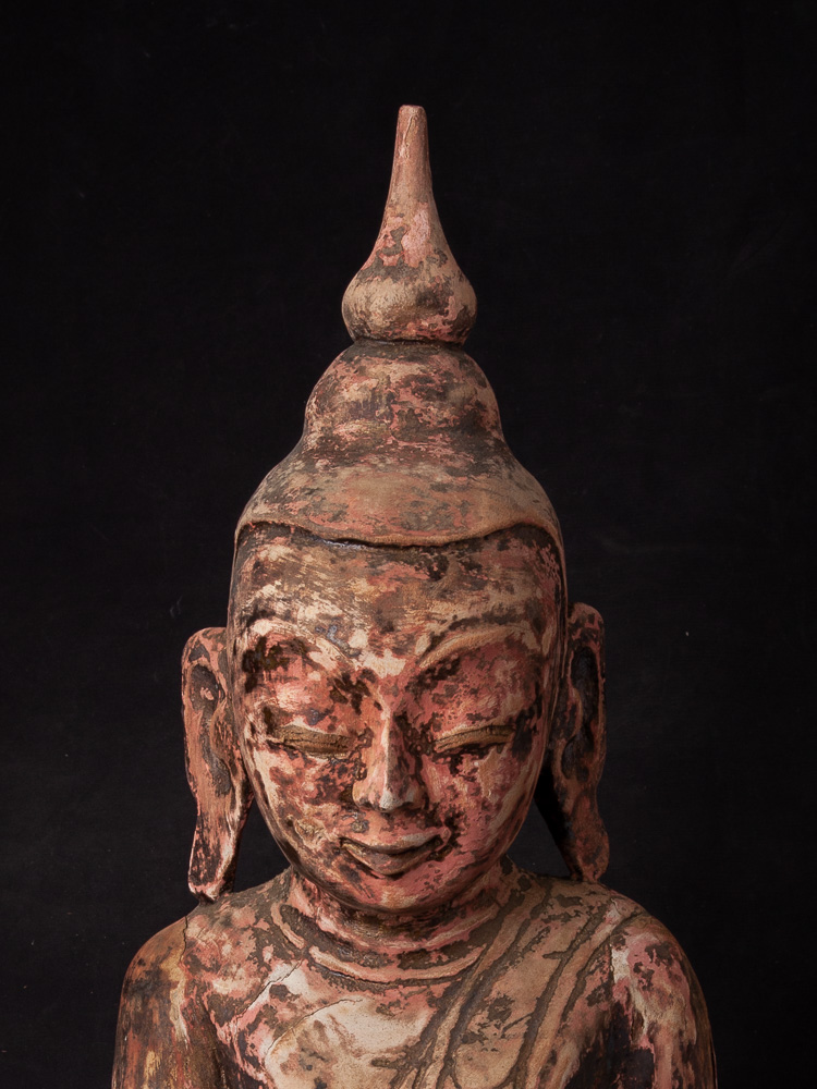 Antique Burmese Ava Buddha statue from Burma made from Wood