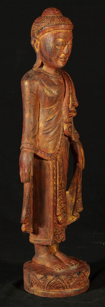 Wooden standing Buddha statue from Burma made from Wood
