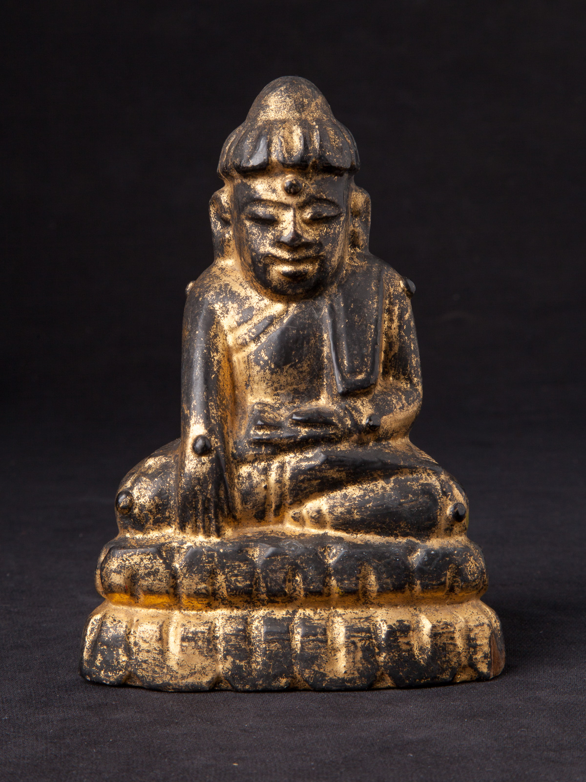 Antique wooden Lotus Buddha statue from Burma