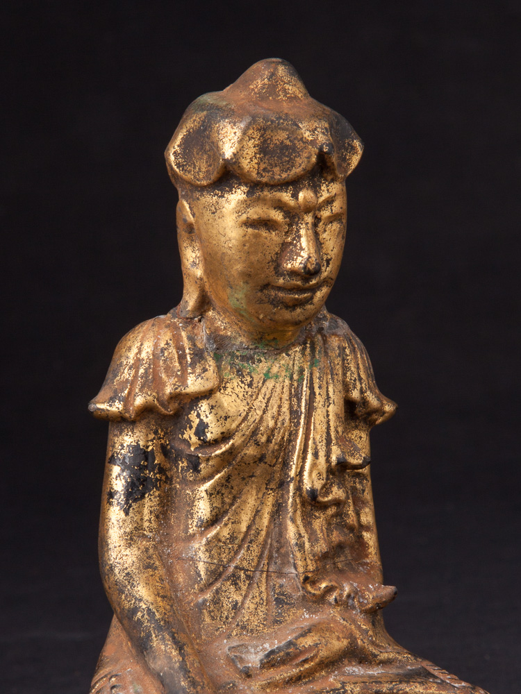 Antique Lotus Buddha statue from Burma made from lacquer