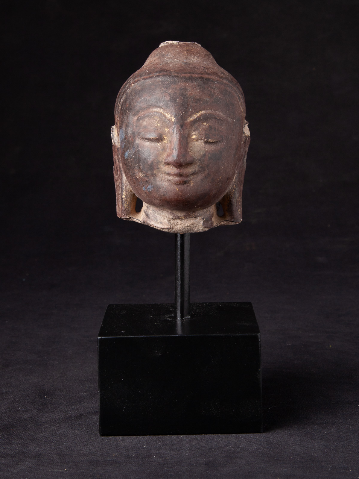 Antique sandstone Buddha head from Burma