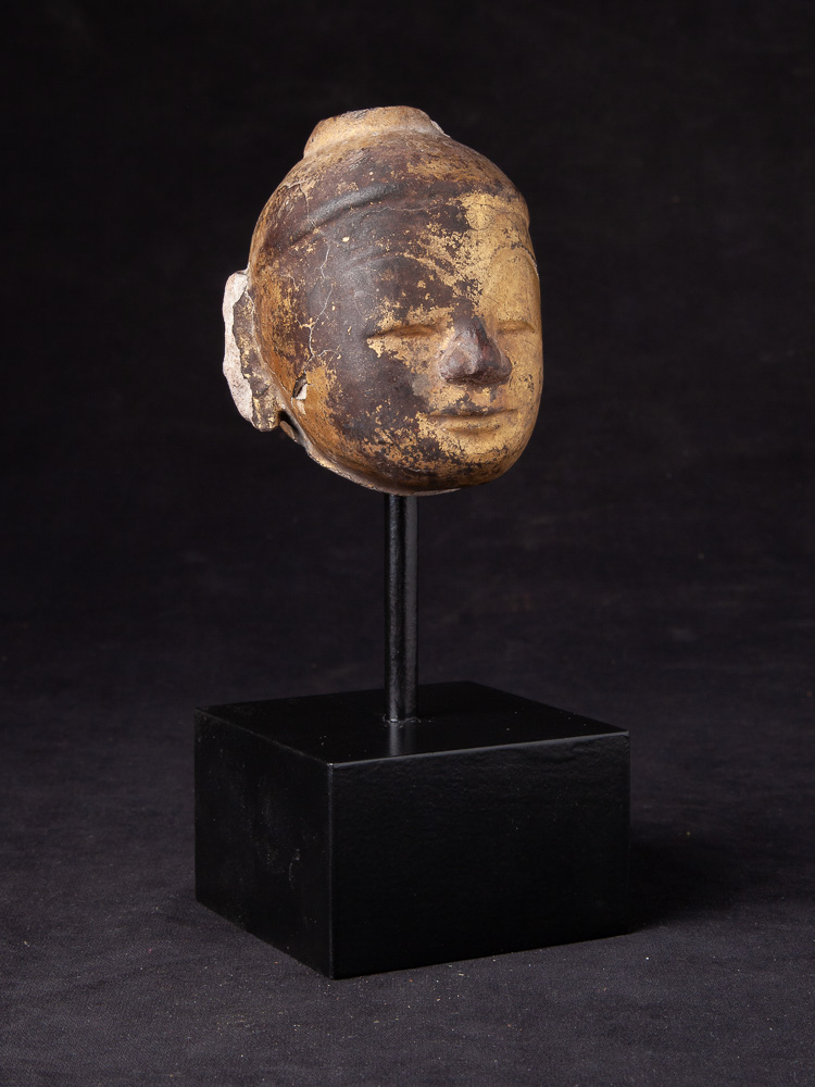 Antique sandstone Buddha head from Burma made from
