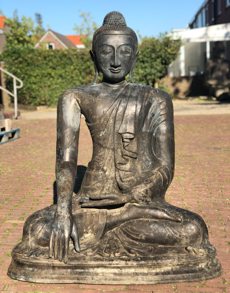 Large antique bronze Buddha statue from Burma