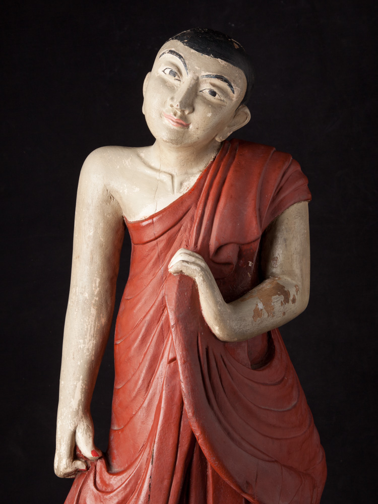 Old teakwooden monk statue from Burma made from Wood