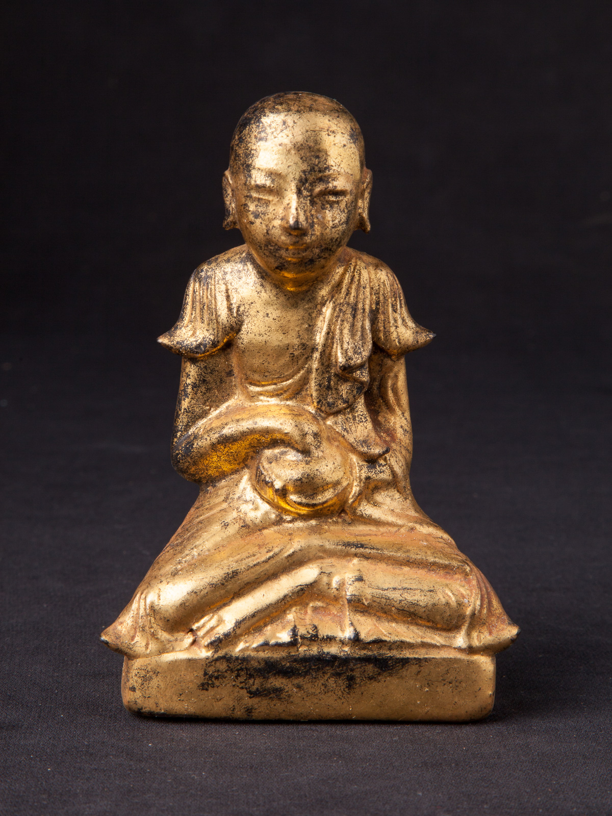 Antique Burmese monk statue from Burma made from lacquer
