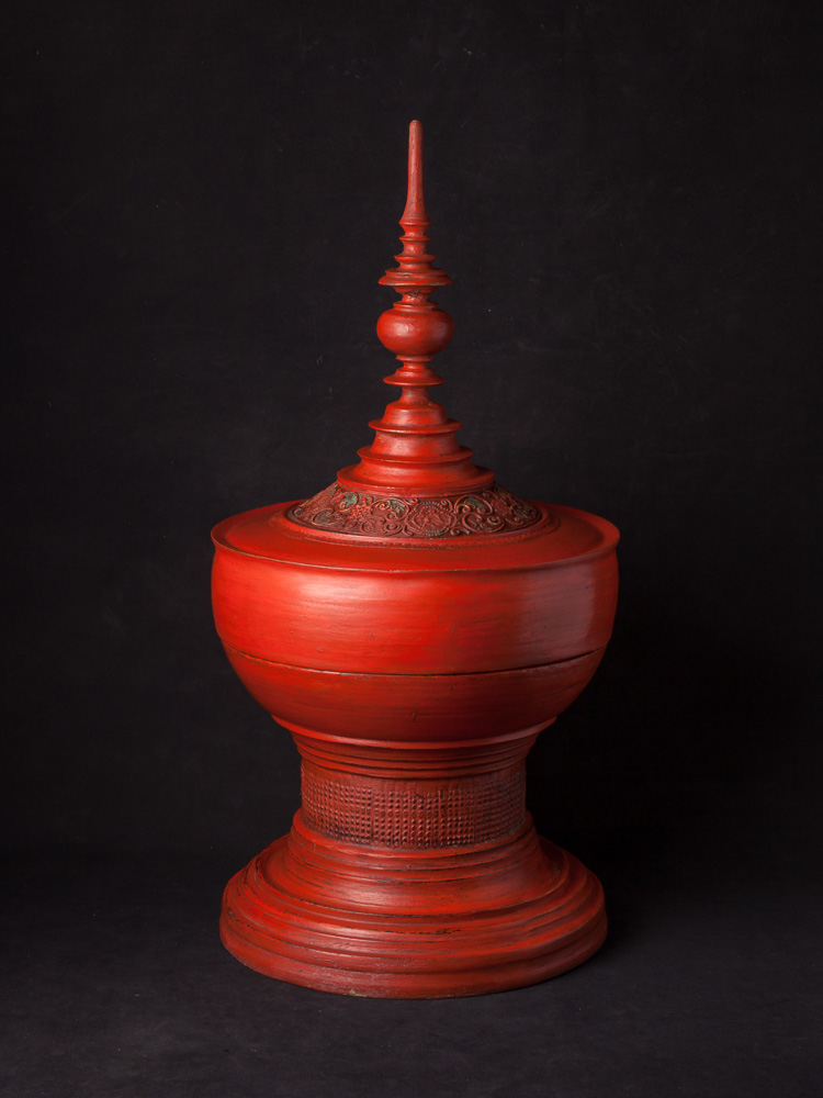 Antique Burmese offering vessel from Burma made from lacquer