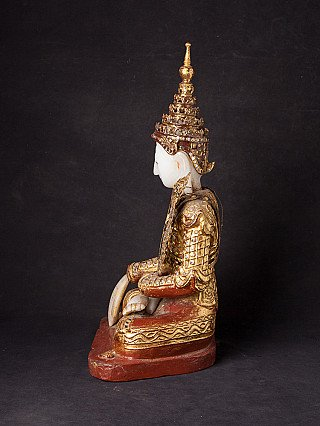 Antique Burmese crowned Buddha statue