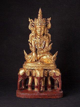 Antieke Birmese gekroonde Boeddha