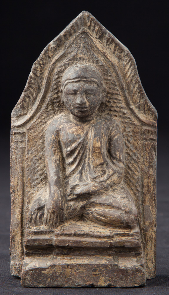 Antique pottery Buddha Amulet from Burma