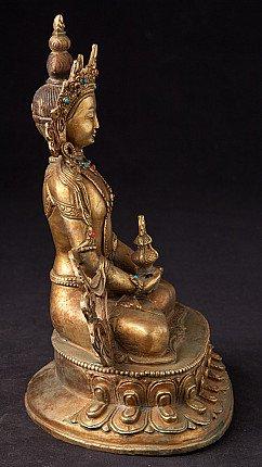 Alte bronze Kronen Buddha Figur