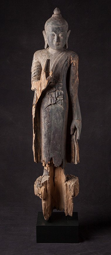 Antique wooden Ava period Buddha statue