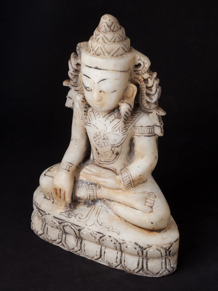 Old marble crowned Buddha statue from Burma made from Marble