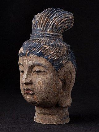 Houten Kwan Yin hoofd