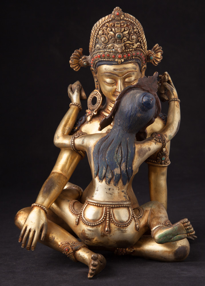 Old bronze Indra - Shakti statue from Nepal