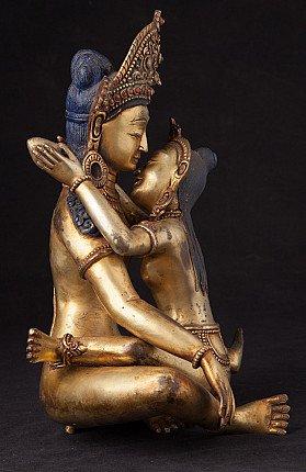 Old bronze Indra - Shakti statue
