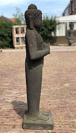 Standing lavastone Buddha statue
