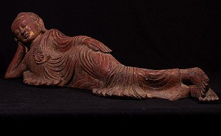 Alte bronze liegende Buddha Figur