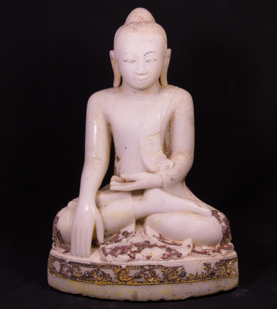 Antique marble Mandalay Buddha statue from Burma