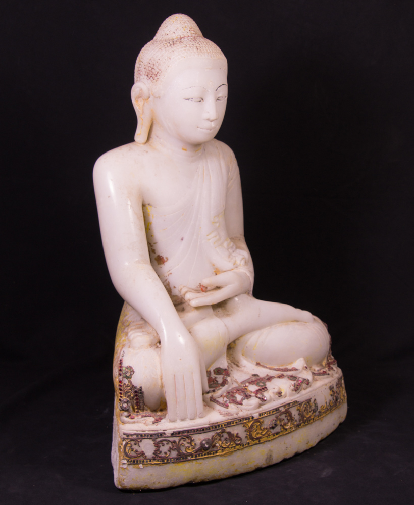 Antique marble Mandalay Buddha statue from Burma made from Marble