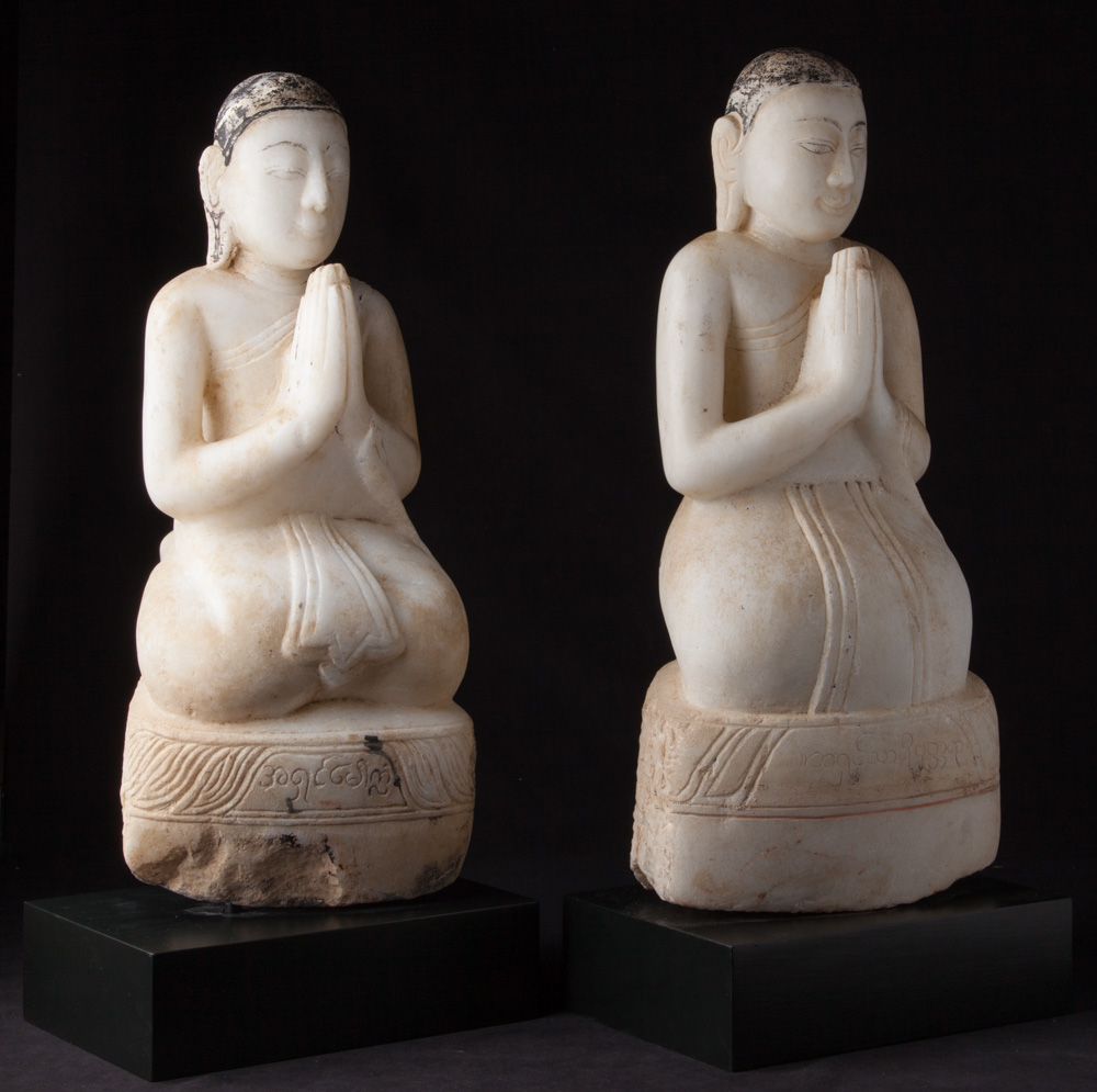 Pair of antique marble monk statues from Burma made from Marble