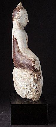Antique alabaster Ava Buddha statue