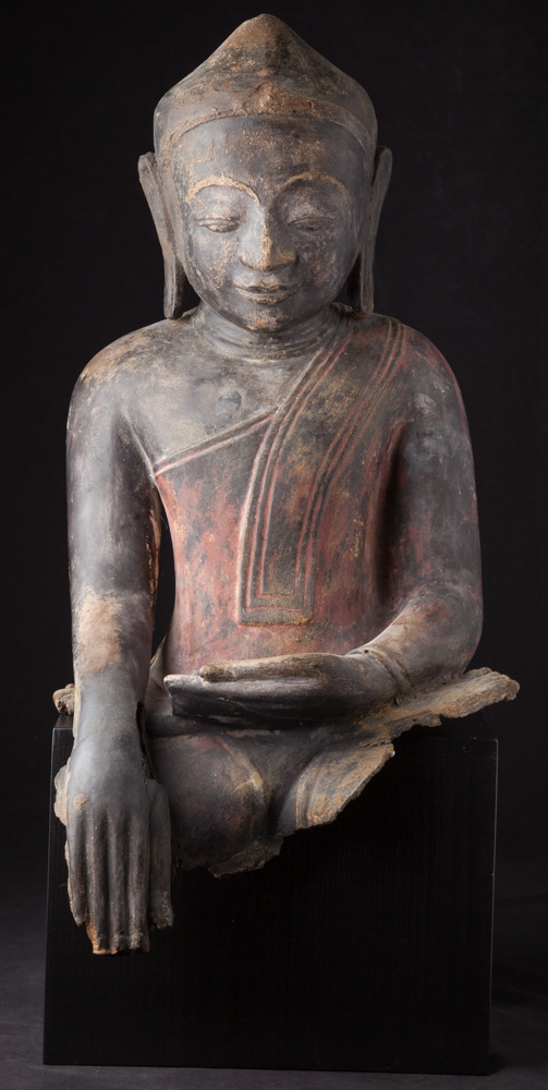 Antique Burmese Ava Buddha statue from Burma made from lacquer