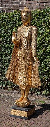 Large wooden Buddha statue