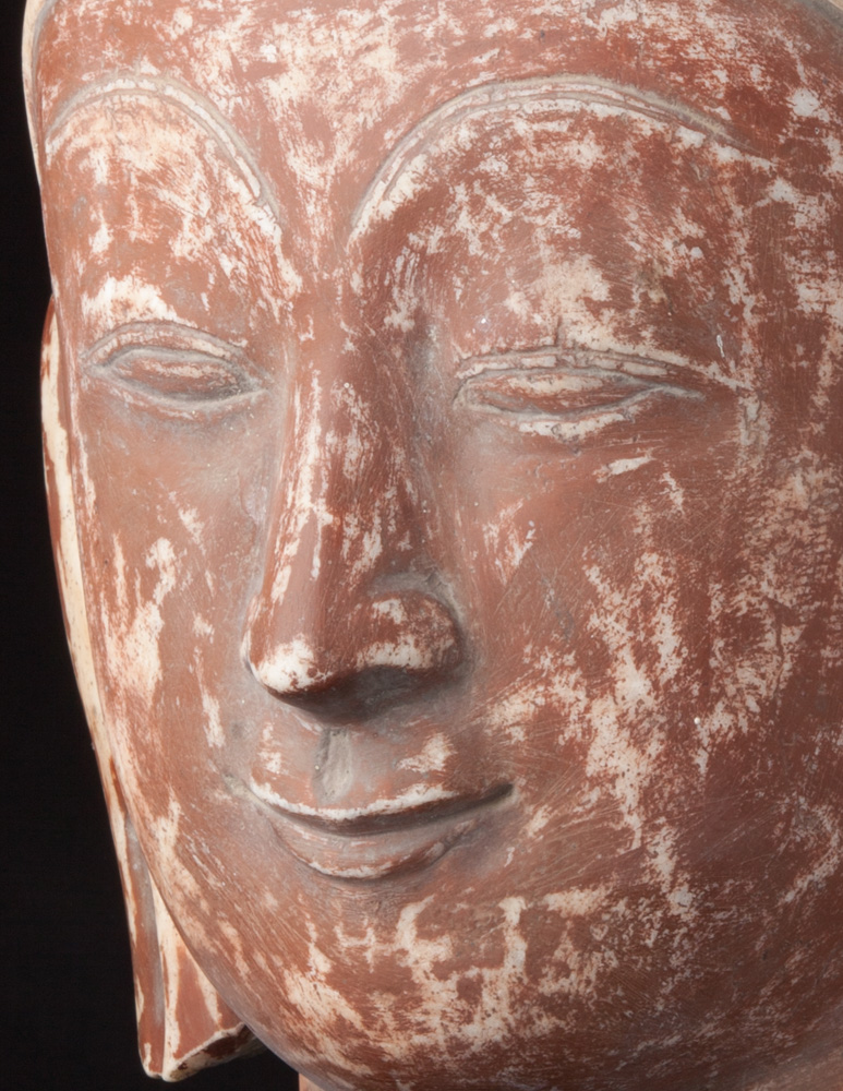 Large old marble Buddha head from Burma made from Marble