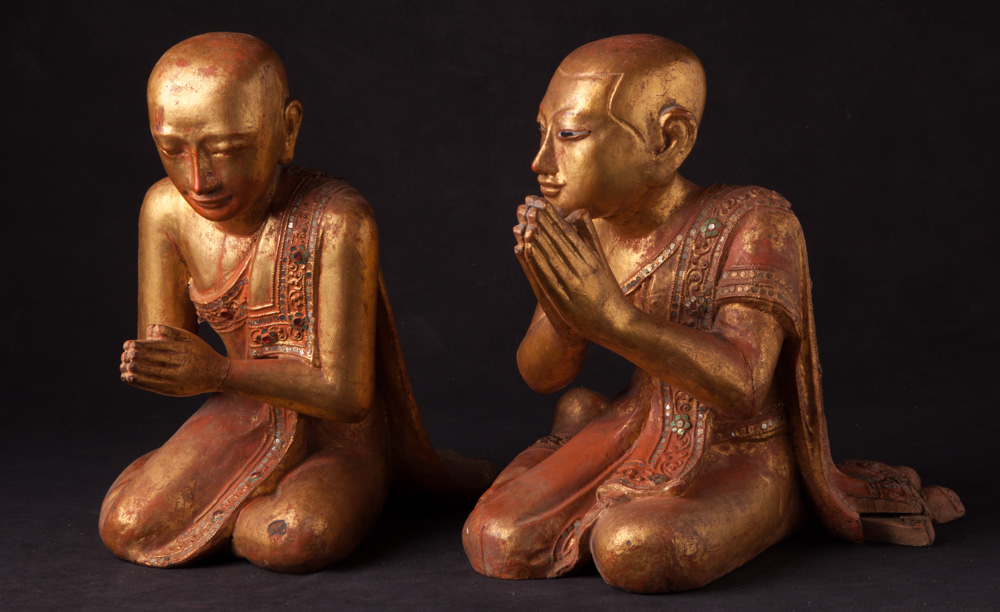 Pair of antique monk statues from Burma made from Wood