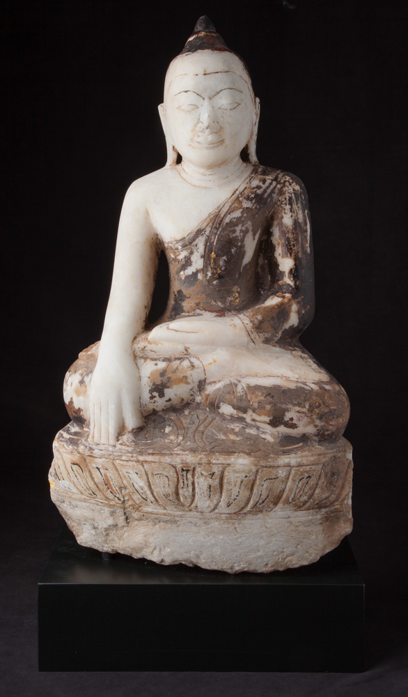 Antique marble Ava period Buddha statue from Burma made from Marble