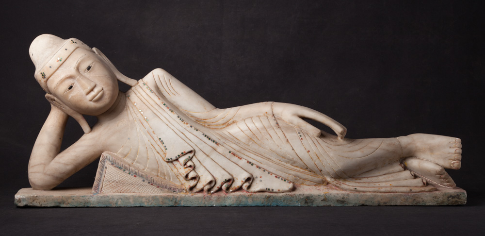 Special antique reclining Buddha statue from Burma