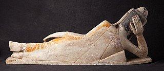 Bijzonder liggend albasten Boeddhabeeld